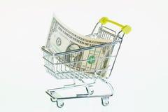 Долларовая банкнота США одного в магазинной тележкае Стоковые Фото