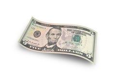 Долларовая банкнота 5 Стоковые Фото
