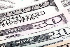 Долларовые банкноты предпосылка, фото макроса Стоковые Изображения RF