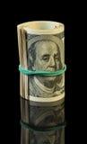 Долларовые банкноты свернутые вверх Стоковая Фотография