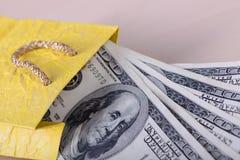 Доллары банкнот в пакете Стоковое Изображение