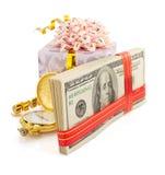 Доллары банкнот денег на белизне Стоковые Изображения RF