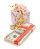 Доллары банкнот денег на белизне Стоковое Изображение