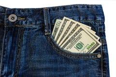 Доллары в джинсах Стоковое Фото