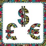Доллары, евро и фунт с этническими мотивами бесплатная иллюстрация
