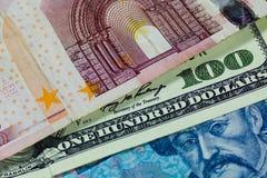 Доллары, евро и hryvnia Стоковая Фотография