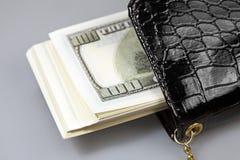 Доллары денег в портмоне Стоковая Фотография
