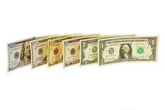 Доллары деноминаций различных деноминаций стоя вертикальный Стоковая Фотография RF