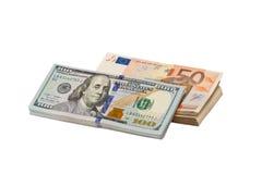 Доллары и евро Стоковое Изображение RF