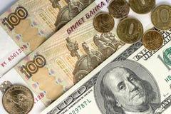 Доллары и русские деньги как предпосылка Стоковое фото RF