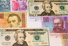 Доллары и hryvnia Стоковые Изображения