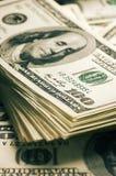 Доллары конца-вверх стога Стоковое фото RF