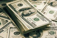 Доллары конца-вверх стога Стоковые Фотографии RF