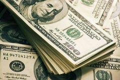 Доллары конца-вверх стога Стоковая Фотография RF