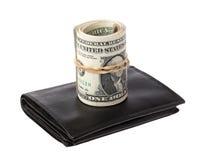 Доллары на бумажнике Стоковая Фотография RF