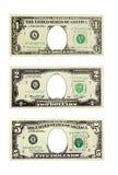 Доллары при отверстия изолированный президент вместо Стоковое Фото