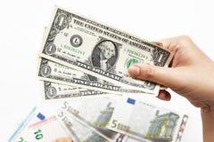 Доллары счета в наличии Стоковые Фотографии RF