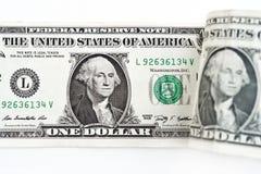 Доллары счета изолированного на белой предпосылке Стоковое фото RF