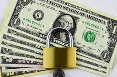 Доллары США с padlock Стоковое Изображение RF
