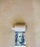 Доллары через сорванную зеленую книгу Стоковые Изображения