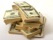Доллары штабелируют перевязанную камедь Стоковое Фото