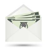 Доллар в белом конверте, значке вектора Стоковые Изображения