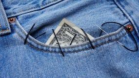 Доллар в карманн Стоковое Изображение