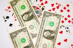 Доллар денег играя карточек Стоковые Фотографии RF