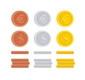 Доллар и евро чеканят собрание значка знака цента Стоковые Изображения