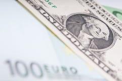 Доллар и евро Стоковые Фотографии RF