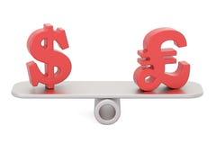 Доллар или фунт стерлинга, концепция баланса перевод 3d иллюстрация штока