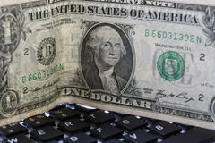 Доллар и клавиатура Стоковые Фотографии RF