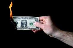 Доллар, который нужно сгореть Стоковая Фотография