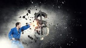 Доллар нападения человека карате Мультимедиа Стоковые Изображения