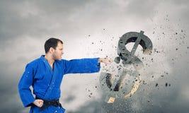 Доллар нападения человека карате Стоковое Изображение