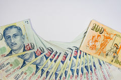 Доллар Сингапура, банкнота Сингапур на белом изоляте предпосылки Стоковое Изображение