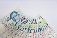 Доллар Сингапура, банкнота Сингапур на белом изоляте предпосылки Стоковые Фотографии RF