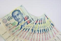 Доллар Сингапура, банкнота Сингапур на белом изоляте предпосылки Стоковое Изображение RF