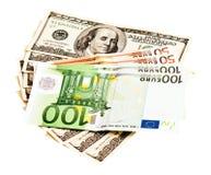 Доллар США и евро Стоковое Фото