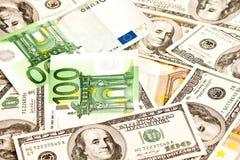 Доллар США и евро Стоковые Изображения