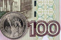 Доллар США и 100 рублей Стоковое фото RF
