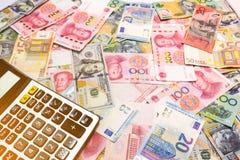 Доллар США предпосылки денег мира, австралийский доллар, китаец Yu Стоковые Фотографии RF