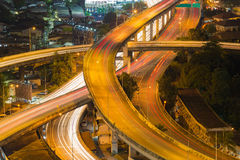 Долгая выдержка пересечения моста шоссе Стоковое Фото