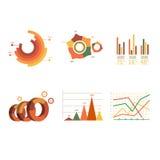 Долевые диограммы бара точки элементов рынка коммерческих информаций Стоковое Фото