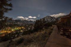 Долина горы в лунном свете Стоковые Изображения RF