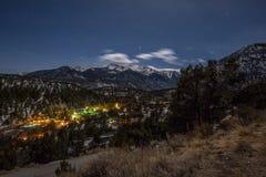 Долина горы в лунном свете Стоковое Изображение