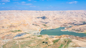 Долина реки Mujib вадей и запруды Mujib Al Стоковое Фото