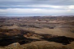 Долина Arava, южный Израиль, выравнивая сумерк Стоковые Изображения RF