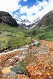 Долина Cayesh, Blanca кордильер, Перу Стоковая Фотография