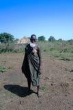 Долина Omo женщины племени Mursi, Эфиопия стоковая фотография rf